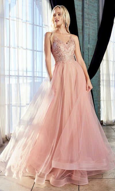 Cinderella Divine CD899 blush pink v neck sequin lace beaded dress w/low back &straps. Perfect light pink tulle dress for prom, wedding reception or engagement dress, indowestern gown, sweet 16, debut, quinceanera, formal party dress. Plus sizes avail
