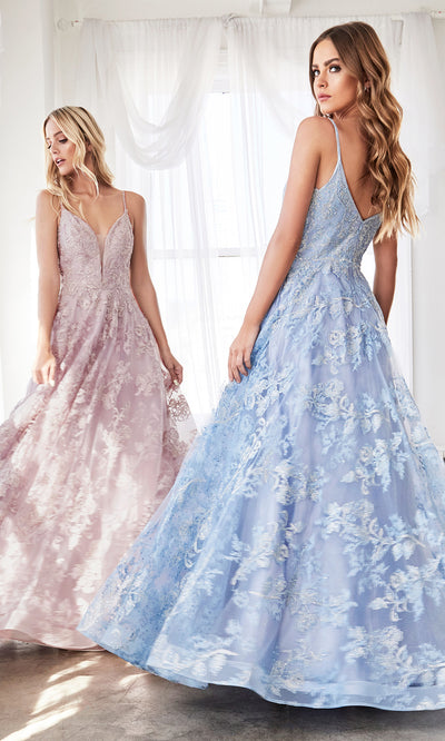 Cinderella Divine CD902 blue v neck lace flowy dress w/straps. Perfect baby blue tulle lace dress for prom, wedding reception or engagement dress, indowestern gown, sweet 16, debut, quinceanera, formal party dress. Plus sizes avail.jpg