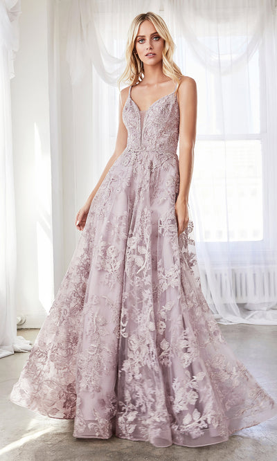 Cinderella Divine CD902 mauve v neck lace flowy dress w/straps. Perfect mauve tulle lace dress for prom, wedding reception or engagement dress, indowestern gown, sweet 16, debut, quinceanera, formal party dress. Plus sizes avail.jpg