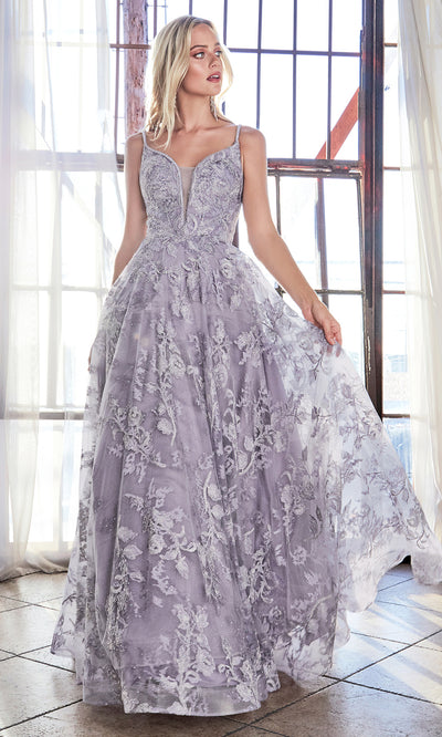 Cinderella Divine CD902 violet v neck lace flowy dress w/straps. Perfect lilac tulle lace dress for prom, wedding reception or engagement dress, indowestern gown, sweet 16, debut, quinceanera, formal party dress. Plus sizes avail.jpg
