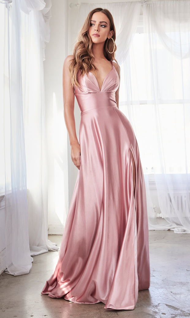 Cinderella Divine CD903 blush pink v neck satin dress w/high slit & straps. Perfect light pink dress for prom, engagement shoot, bridesmaids, indowestern gown, black tie event, gala, pageant, formal party dress, wedding guest dress. Plus sizes avail.jpg