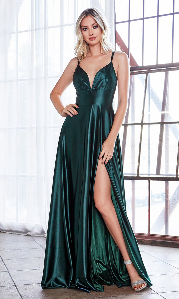Cinderella Divine CD903 dark green v neck satin dress w/high slit & straps. Perfect hunter green dress for prom, engagement shoot, bridesmaids, indowestern gown, black tie event, gala, pageant, formal party dress, wedding guest dress. Plus sizes avail.jpg