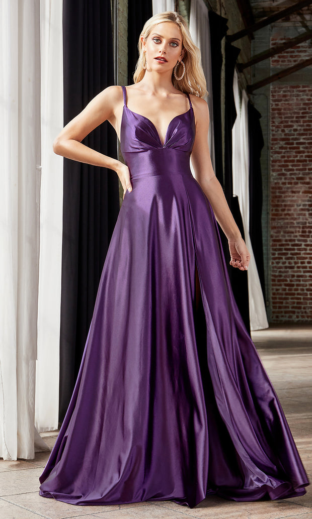 Cinderella Divine CD903 dark purple v neck satin dress w/high slit & straps. Perfect dark purple dress for prom, engagement shoot, bridesmaids, indowestern gown, black tie event, gala, pageant, formal party dress, wedding guest dress. Plus sizes avail.jpg