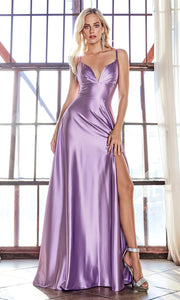 Cinderella Divine CD903 lavender v neck satin dress w/high slit & straps. Perfect light purple dress for prom, engagement shoot, bridesmaids, indowestern gown, black tie event, gala, pageant, formal party dress, wedding guest dress. Plus sizes avail.jpg