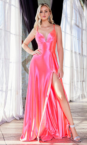 Cinderella Divine CD903 neon pink v neck satin dress w/high slit & straps. Perfect bright pink dress for prom, engagement shoot, bridesmaids, indowestern gown, black tie event, gala, pageant, formal party dress, wedding guest dress. Plus sizes avail.jpg