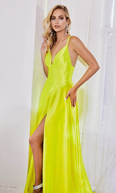 Cinderella Divine CD903 neon yellow v neck satin dress w/high slit & straps. Perfect bright yellow dress for prom, engagement shoot, bridesmaids, indowestern gown, black tie, gala, pageant, formal party dress, wedding guest dress. Plus sizes avail.jpg