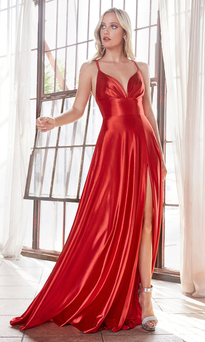 Cinderella Divine CD903 red v neck satin dress w/high slit & straps. Perfect red dress for prom, engagement shoot, bridesmaids, indowestern gown, black tie event, gala, pageant, formal party dress, wedding guest dress. Plus sizes avail.jpg