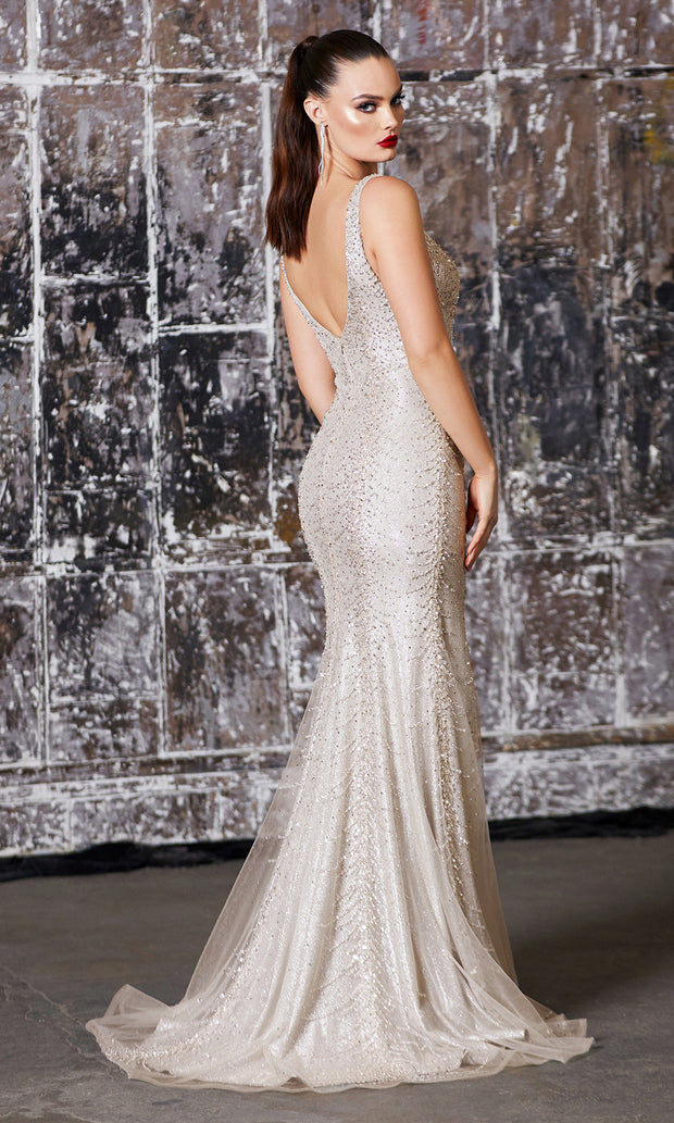Cinderella Divine CD905 champagne v neck sequin beaded fitted dress w/ wide straps & high slit. Perfect dress for prom, wedding reception/engagement dress, indowestern gown, mother of the bride, black tie, gala, formal party dress. Plus sizes avail.jpg