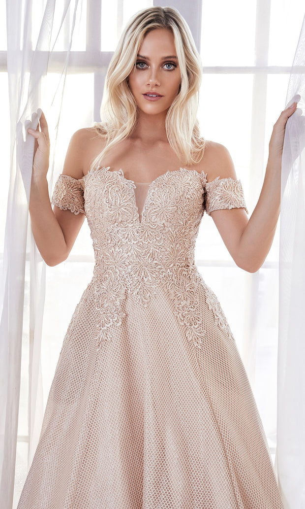 Cinderella Divine CD908 champagne off shoulder lace flowy semi ball gown dress. Perfect champagne tulle dress for prom, wedding reception or engagement dress, indowestern gown, sweet 16, debut, quinceanera, formal party dress. Plus sizes avail-c.jpg