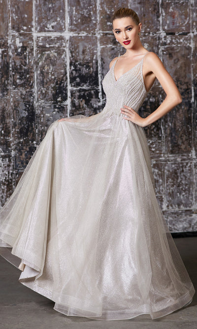 Cinderella Divine CD910 champagne v neck tulle flowy semi ball gown dress w/beaded top. Perfect champagne tulle dress for prom, wedding reception or engagement dress, indowestern gown, sweet 16, debut, quinceanera, formal party dress. Plus sizes avail.jpg