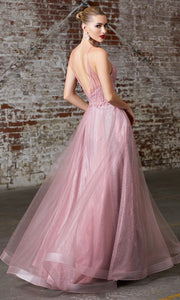 Cinderella Divine CD910 rose pink v neck tulle flowy semi ball gown dress w/beaded top. Perfect pink tulle dress for prom, wedding reception or engagement dress, indowestern gown, sweet 16, debut, quinceanera, formal party dress. Plus sizes avail-b.jpg