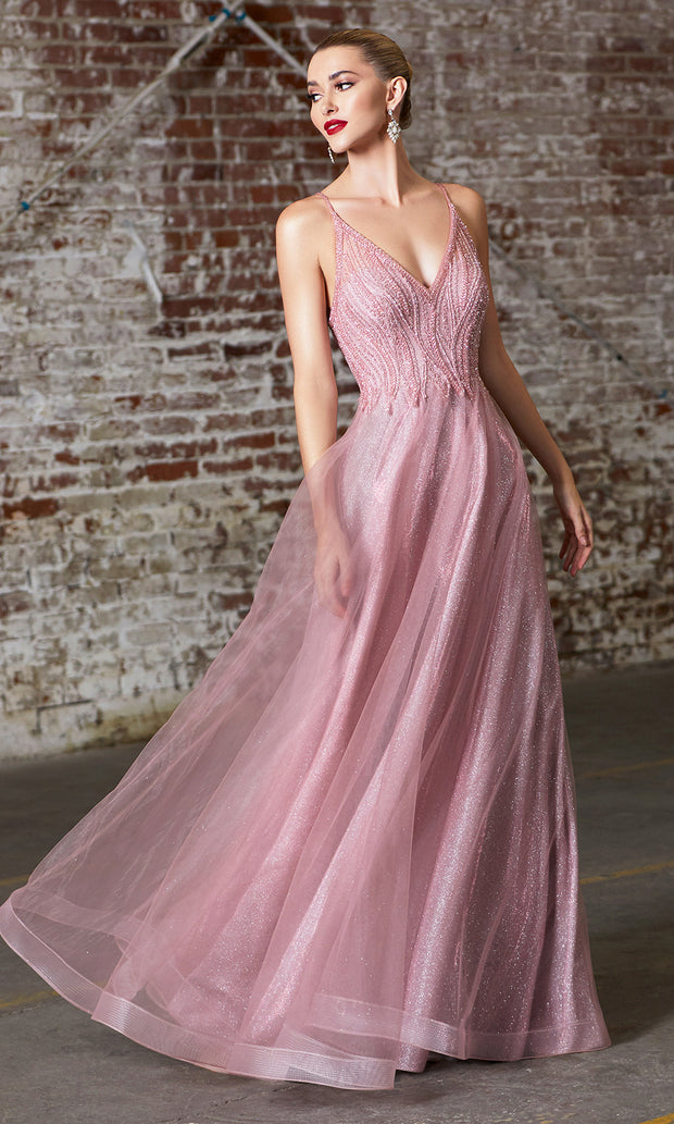 Cinderella Divine CD910 rose pink v neck tulle flowy semi ball gown dress w/beaded top. Perfect pink tulle dress for prom, wedding reception or engagement dress, indowestern gown, sweet 16, debut, quinceanera, formal party dress. Plus sizes avail.jpg
