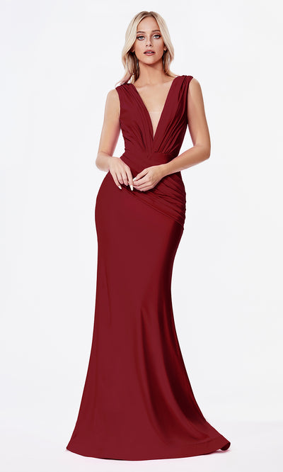 Cinderella Divine CD912 burgundy v neck fitted dress w/wide straps. Perfect dark red/maroon dress for prom, engagement shoot, bridesmaids, indowestern gown, black tie event, gala, pageant, formal party dress, wedding guest dress. Plus sizes avail.jpg