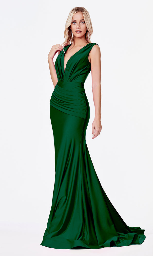 Cinderella Divine CD912 dark green v neck fitted dress w/wide straps. Perfect hunter green dress for prom, engagement shoot, bridesmaids, indowestern gown, black tie event, gala, pageant, formal party dress, wedding guest dress. Plus sizes avail.jpg