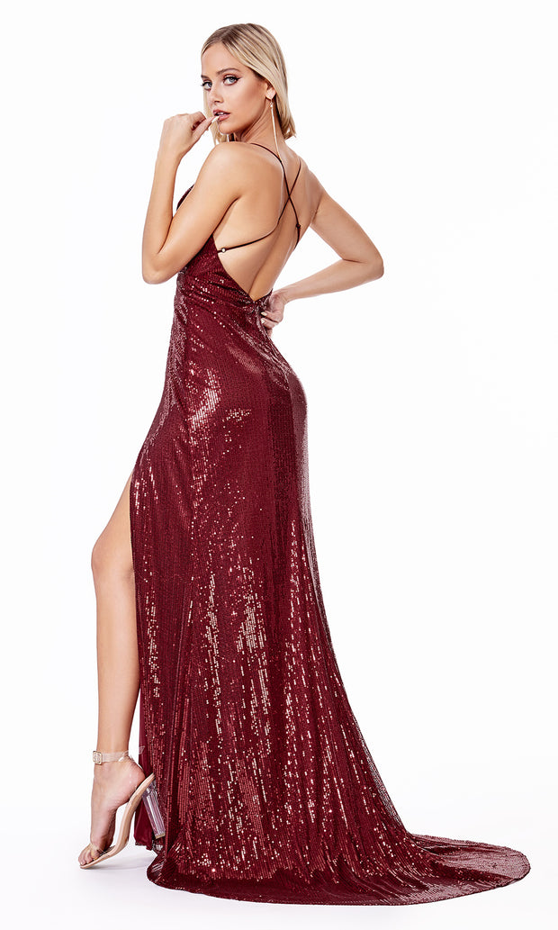 Cinderella Divine CD915 burgundy red v neck sequin beaded dress w/ 2 slits. Perfect sexy dark red dress for prom, wedding guest dress, formal party dress. Plus sizes avail-b.jpg