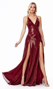 Cinderella Divine CD915 burgundy red v neck sequin beaded dress w/ 2 slits. Perfect sexy dark red dress for prom, wedding guest dress, formal party dress. Plus sizes avail.jpg