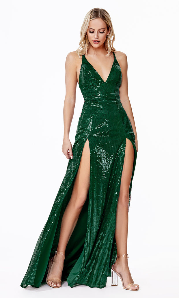 Cinderella Divine CD915 emerald green v neck sequin beaded dress w/ 2 slits. Perfect sexy dark green dress for prom, wedding guest dress, formal party dress. Plus sizes avail.jpg