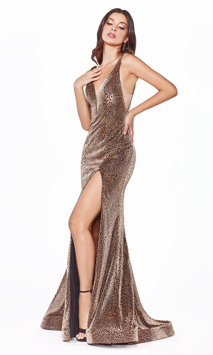 Cinderella Divine CDS322 long copper metallic shiny dress with high slit and low back-2.jpg