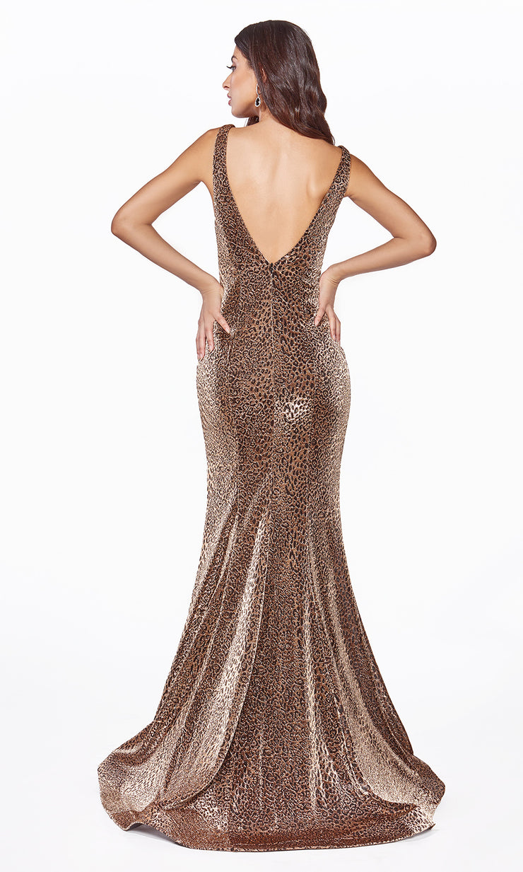 Cinderella Divine CDS322 long copper metallic shiny dress with high slit and low back-back side of dress.jpg
