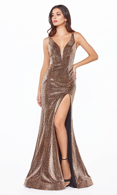 Cinderella Divine CDS322 long copper metallic shiny dress with high slit and low back.jpg