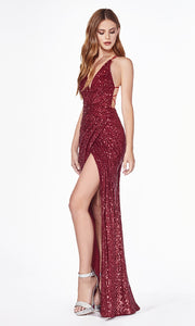 Cinderella Divine CDS345C long burgundy red or maroon sequin beaded dress with open back and high slit. Dark red Sequin tight fitted gown. Plus sizes available-1.jpg