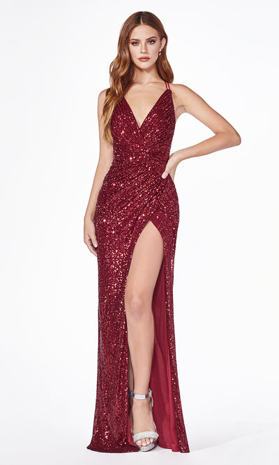 Cinderella Divine CDS345C long burgundy red or maroon sequin beaded dress with open back and high slit. Dark red Sequin tight fitted gown. Plus sizes available.jpg