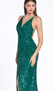 Cinderella Divine CDS345C long emerald green or dark green sequin beaded dress with open back and high slit. Dark red Sequin tight fitted gown. Plus sizes available-side shot.jpg