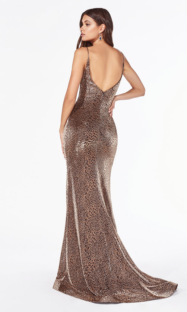 Cinderella Divine CDS347 gold sequin beaded dress with low back-back side of dress.jpg