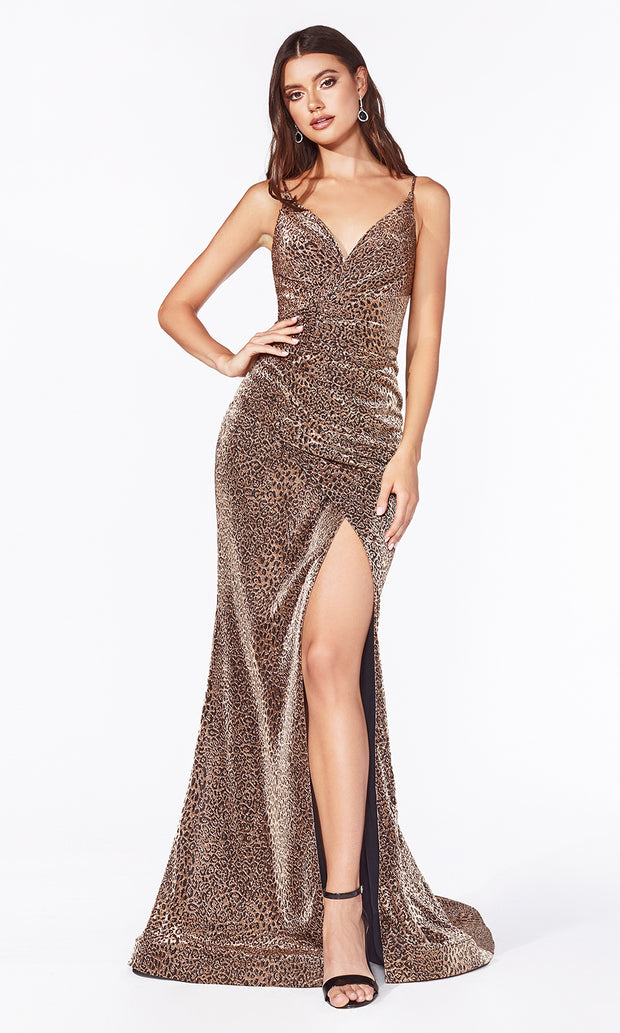 Cinderella Divine CDS347 gold sequin beaded dress with low back.jpg