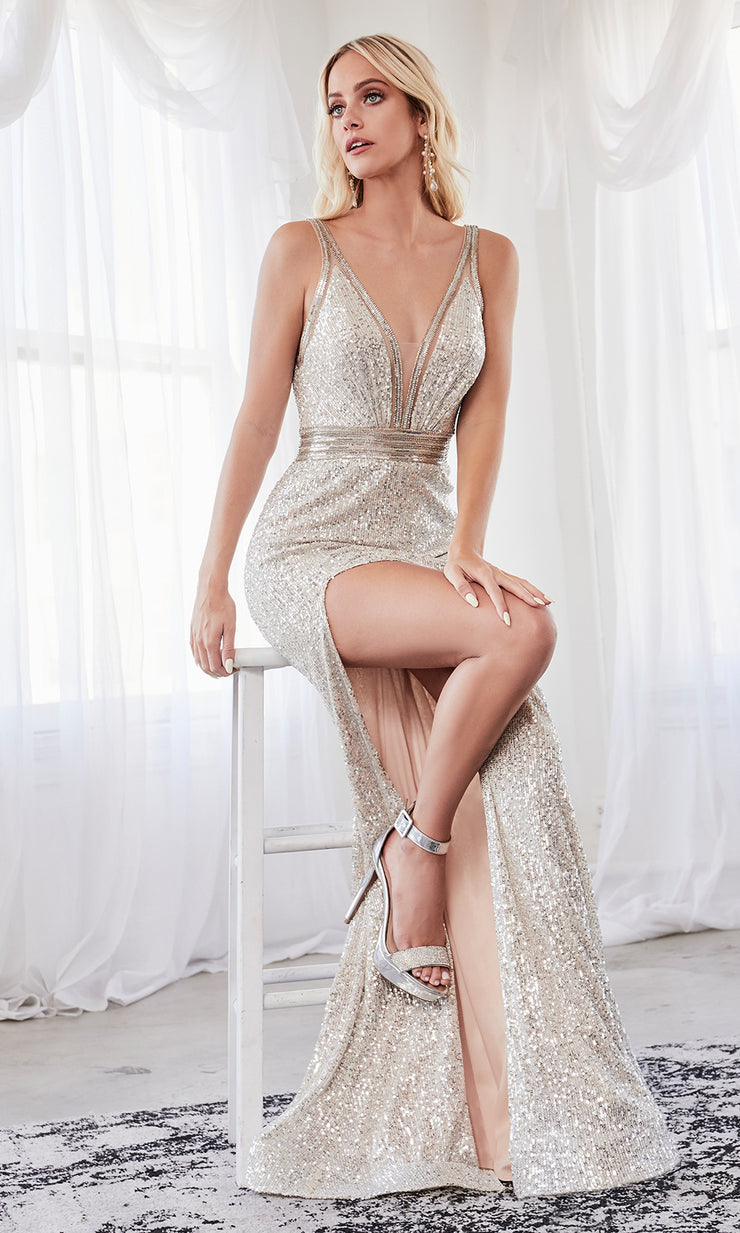 Cinderella Divine CDS359 long champagne sequin beaded dress with high slit with open back and halter neck. Plus sizes available-2.jpg