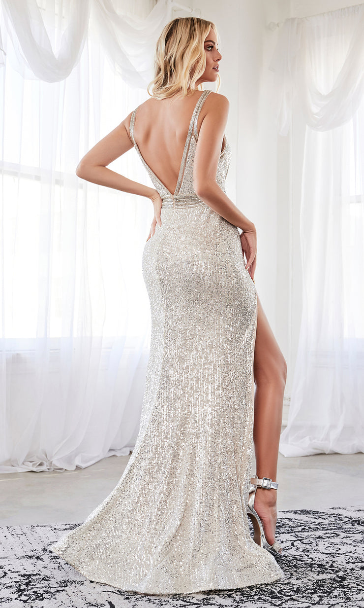 Cinderella Divine CDS359 long champagne sequin beaded dress with high slit with open back and halter neck. Plus sizes available-back side of dress.jpg