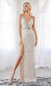 Cinderella Divine CDS359 long champagne sequin beaded dress with high slit with open back and halter neck. Plus sizes available.jpg