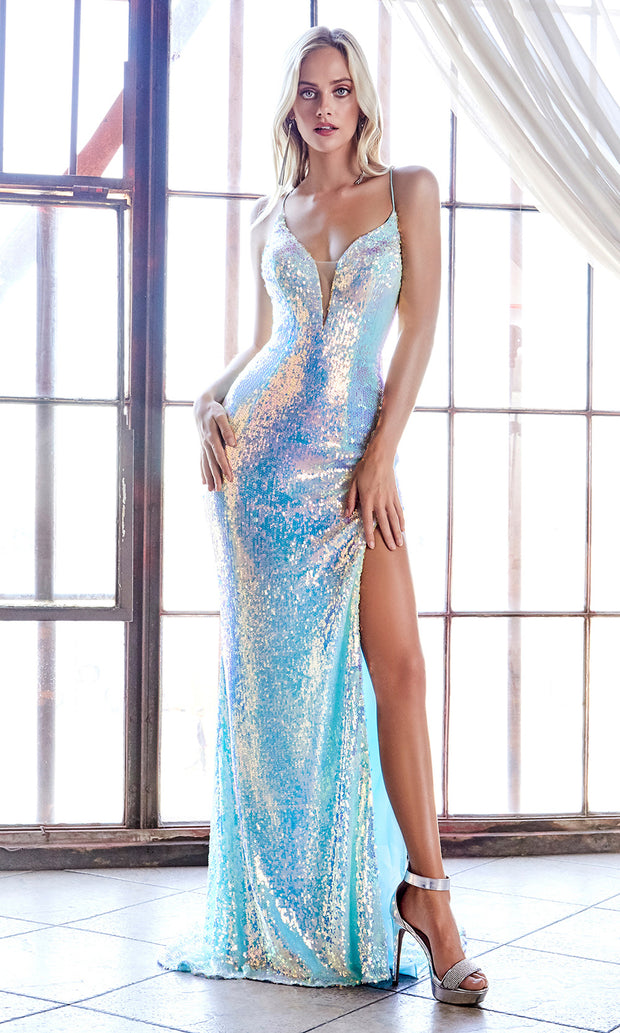 Cinderella Divine CDS 395 long sequin beaded blue dress with high slit and open back-back side of dress.jpg Cinderella Divine CDS 395 long sequin beaded blue dress with high slit and open back.jpg