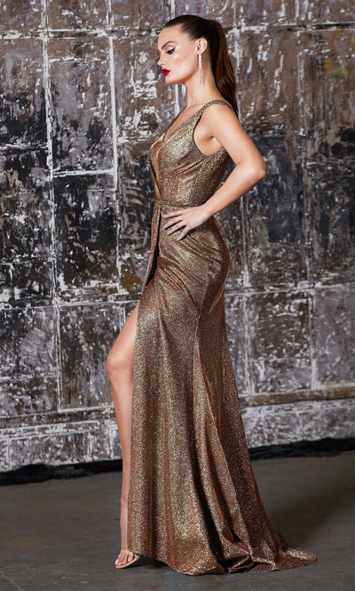 Cinderella Divine CF165 copper gold metallic shiny evening dress with high slit, wide staps & flowy skirt.jpg