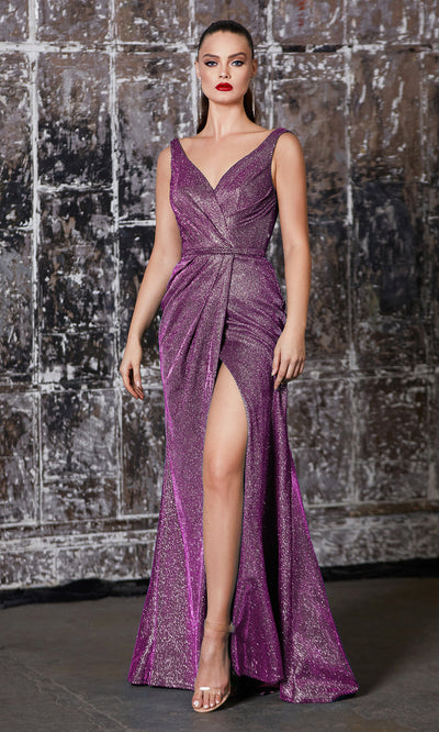 Cinderella Divine CF165 purple metallic shiny evening dress with high slit, wide staps & flowy skirt.jpg