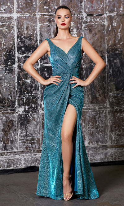 Cinderella Divine CF165 teal green metallic shiny evening dress with high slit, wide staps & flowy skirt.jpg
