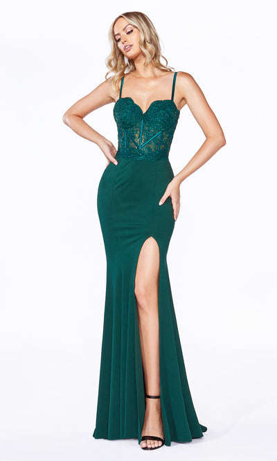 Cinderella Divine CF266 long hunter green or dark green fitted dress with high slit, straps, lace top, and high slit.jpg