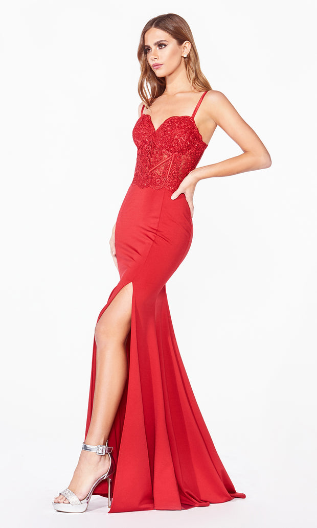 Cinderella Divine CF266 long red fitted dress with high slit, straps, lace top, and high slit-2.jpg