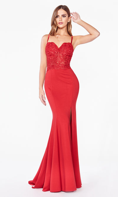 Cinderella Divine CF266 long red fitted dress with high slit, straps, lace top, and high slit.jpg