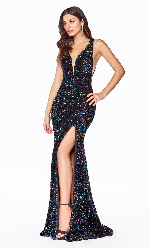 Cinderella Divine CF318 long black sequin beaded fitted dress w open back, wide straps, high slit-2