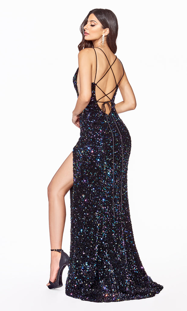 Cinderella Divine CF318 long black sequin beaded fitted dress w open back, wide straps, high slit-b