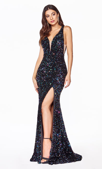 Cinderella Divine CF318 long black sequin beaded fitted dress w open back, wide straps, high slit