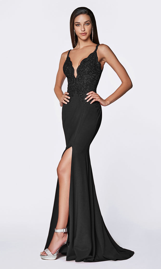 Cinderella Divine CF319 black long v neck dress w/high slit, wide straps and lace top.jpg