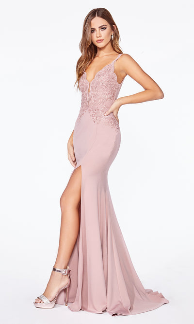 Cinderella Divine CF319 dusty rose or light pink long v neck dress w/high slit, wide straps and lace top.jpg