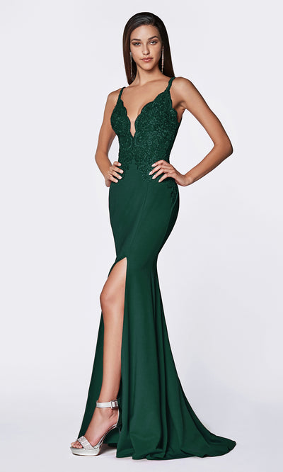 Cinderella Divine CF319 hunter green or dark green long v neck dress w/high slit, wide straps and lace top.jpg
