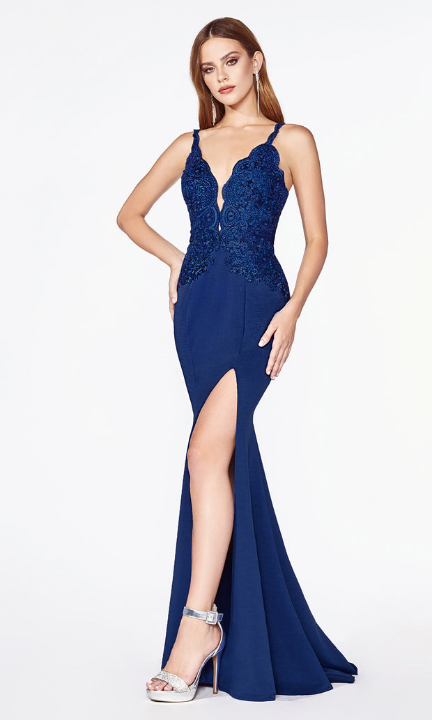 Cinderella Divine CF319 navy blue long v neck dress w/high slit, wide straps and lace top.jpg
