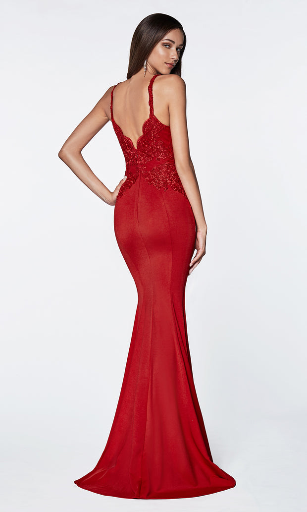 Cinderella Divine CF319 red long v neck dress w/high slit, wide straps and lace top-back of dress.jpg