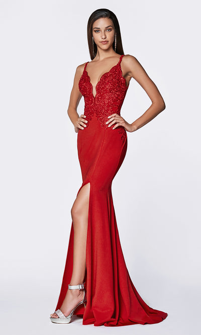Cinderella Divine CF319 red long v neck dress w/high slit, wide straps and lace top.jpg