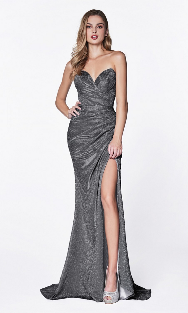 Cinderella Divine CF331 charcoal grey metallic dress