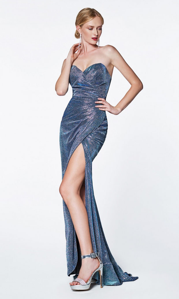 Cinderella Divine CF331 blue metallic dress